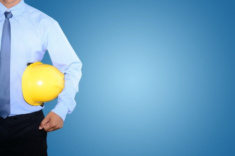 Engineer holding a hard hat