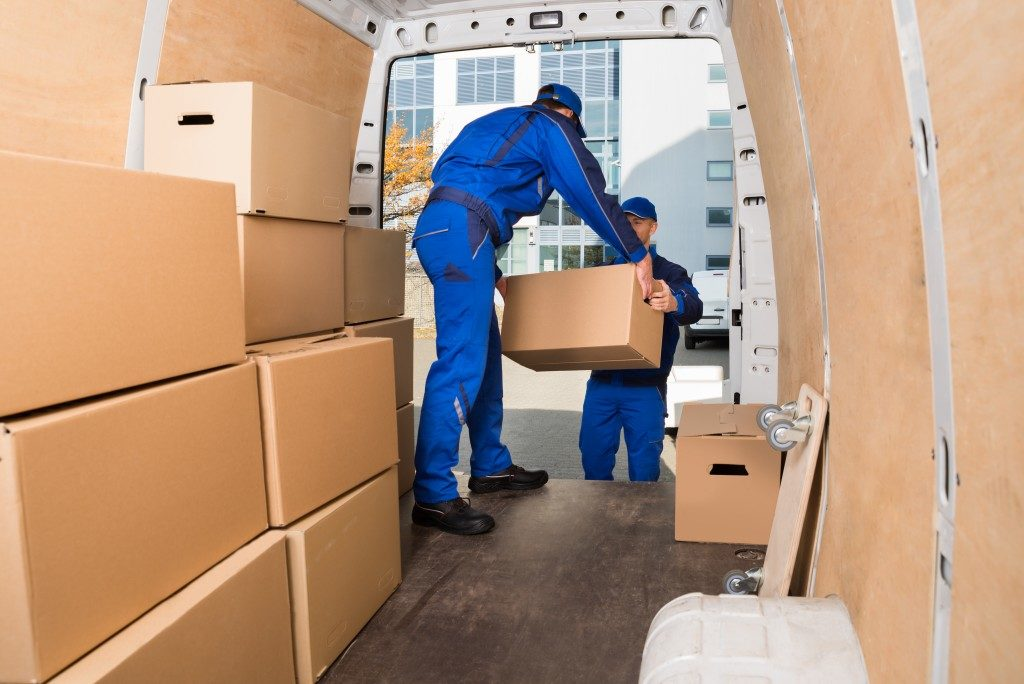 mover specialist unloading boxes from the van