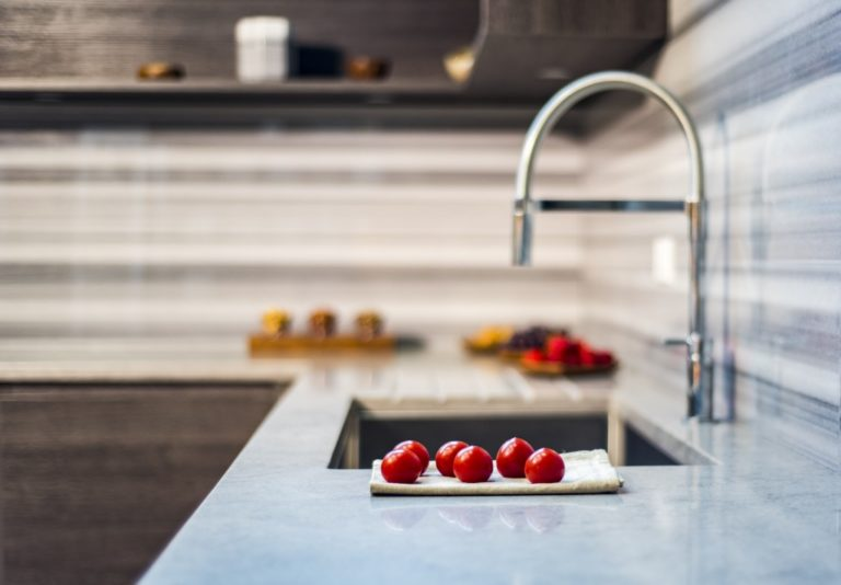 Kitchen counter with tomatoes