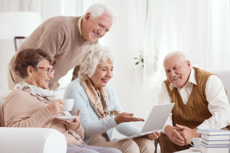 Elderly people using computer