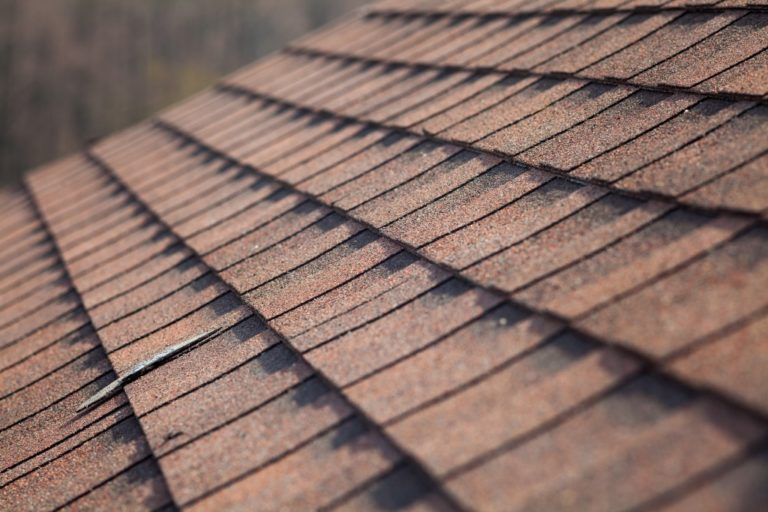 shingle roofing close up
