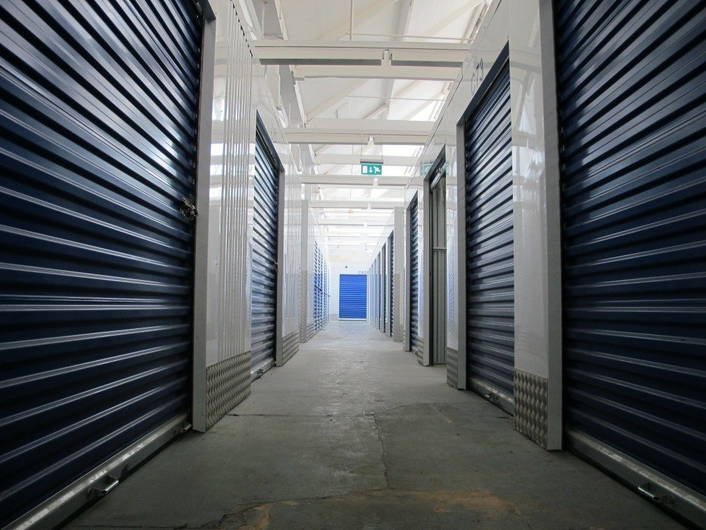 Rows of indoor storage units