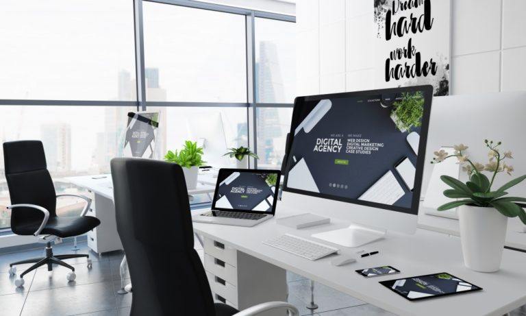 black and white office design