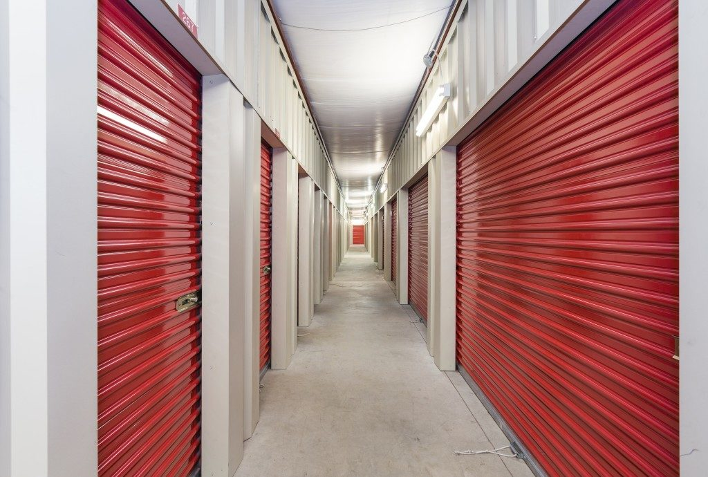 Storage facility with red metal doors