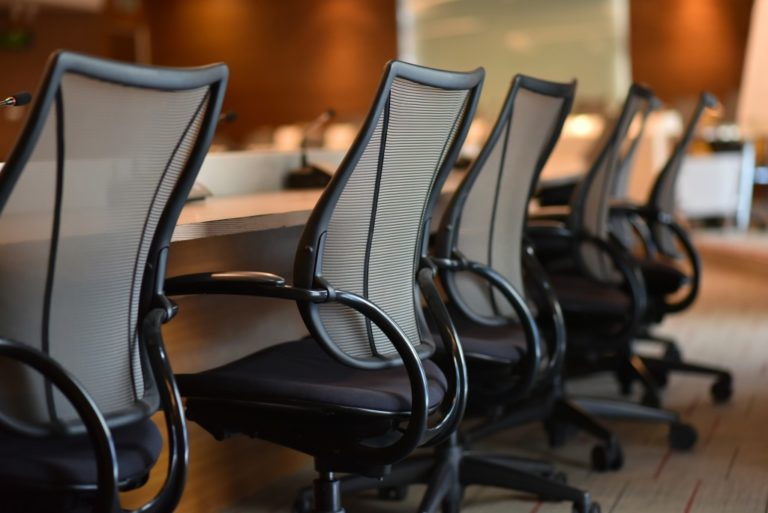 close shot of meeting room chairs