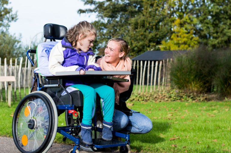 mother with her child with disability