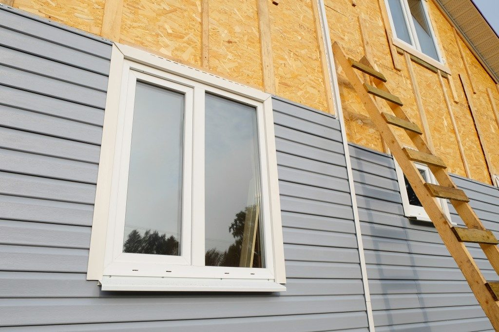 Siding of house being built
