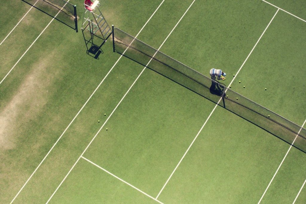 aerial view of a tennis court