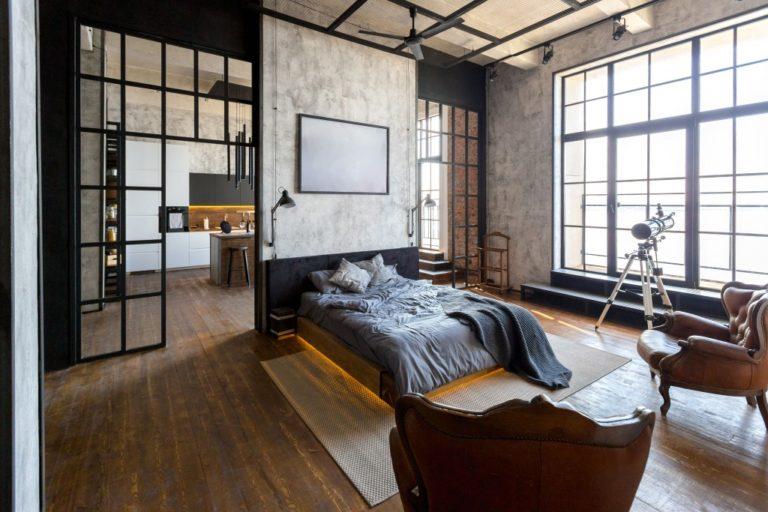 Studio apartment with dark theme