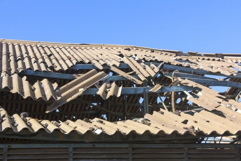 severely damaged roof due to typhoon