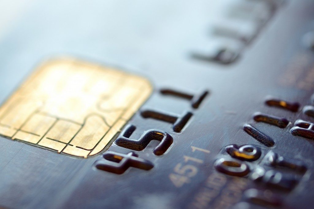 macro shot with old credit card