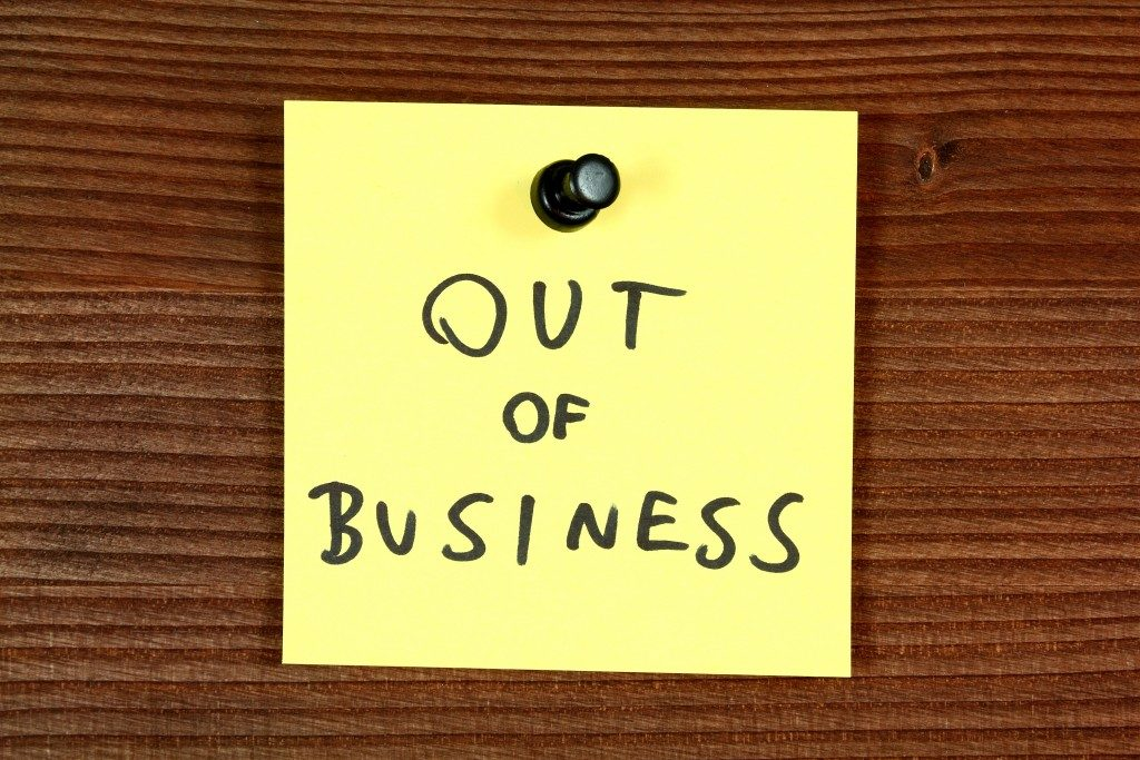 out of business note