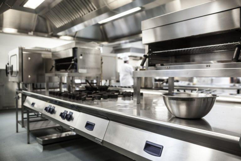 Work surface and kitchen equipment in commercialkitchen