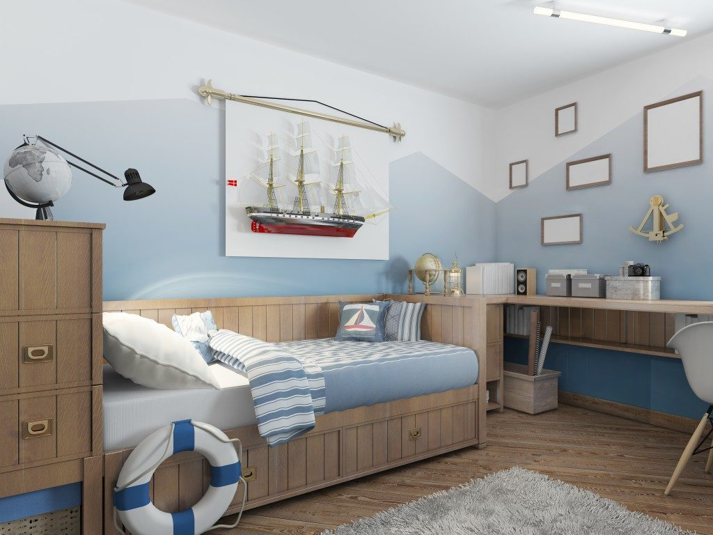 blue ship-themed bedroom for kids