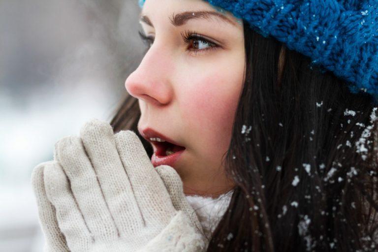 girl outside freezing
