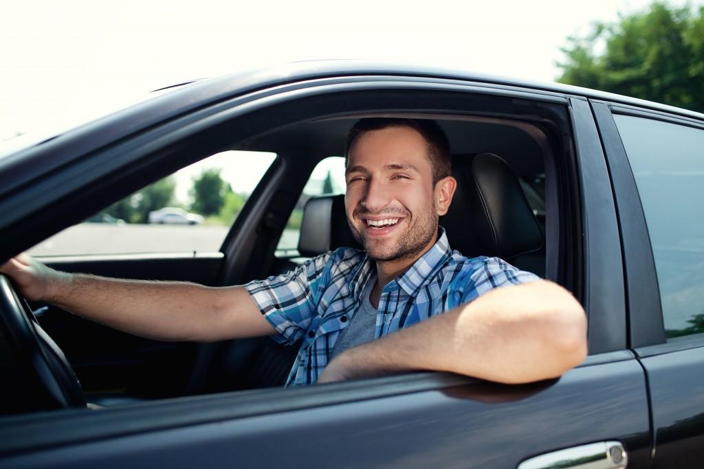 Man inside his car