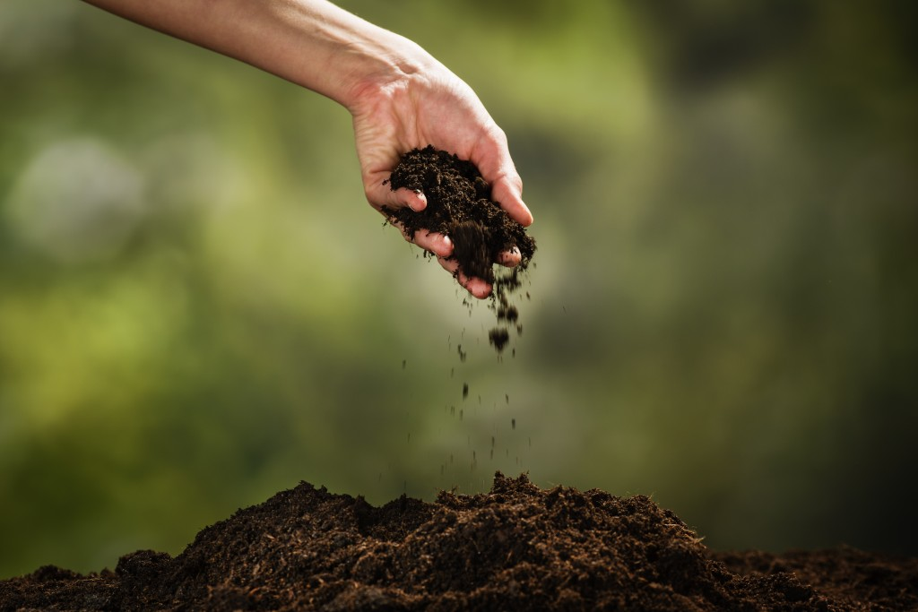 touching the garden soil