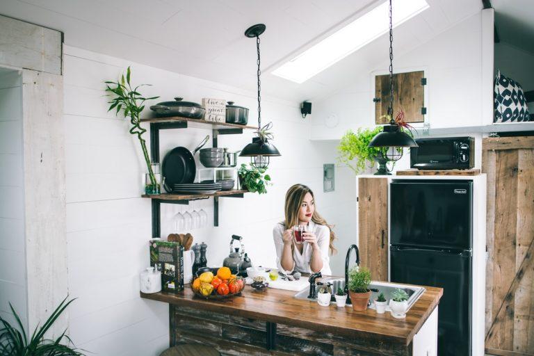 Woman on a beautiful kitchen
