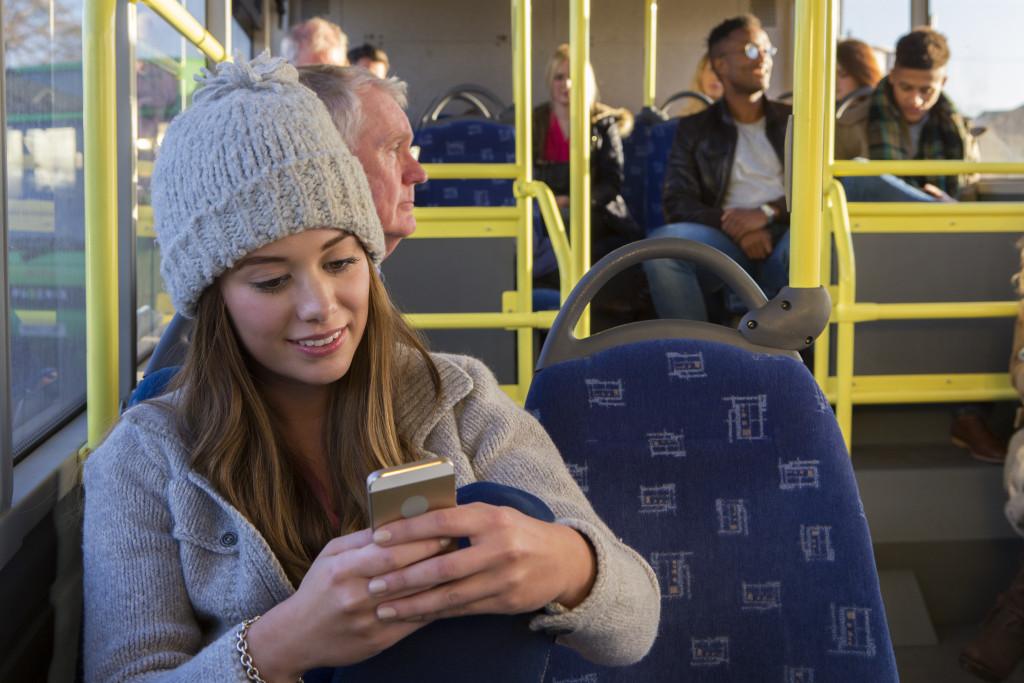 texting inside a public bus