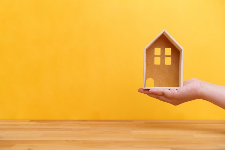 hand holding a miniature wooden house