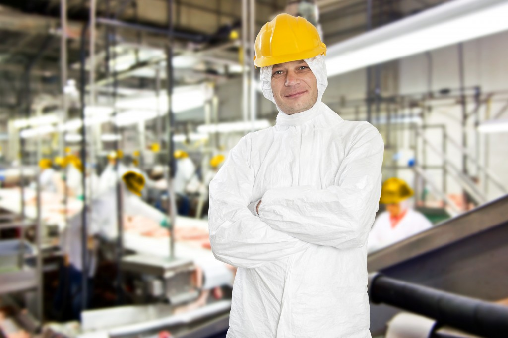 factory worker in meat processing