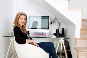 woman with home office