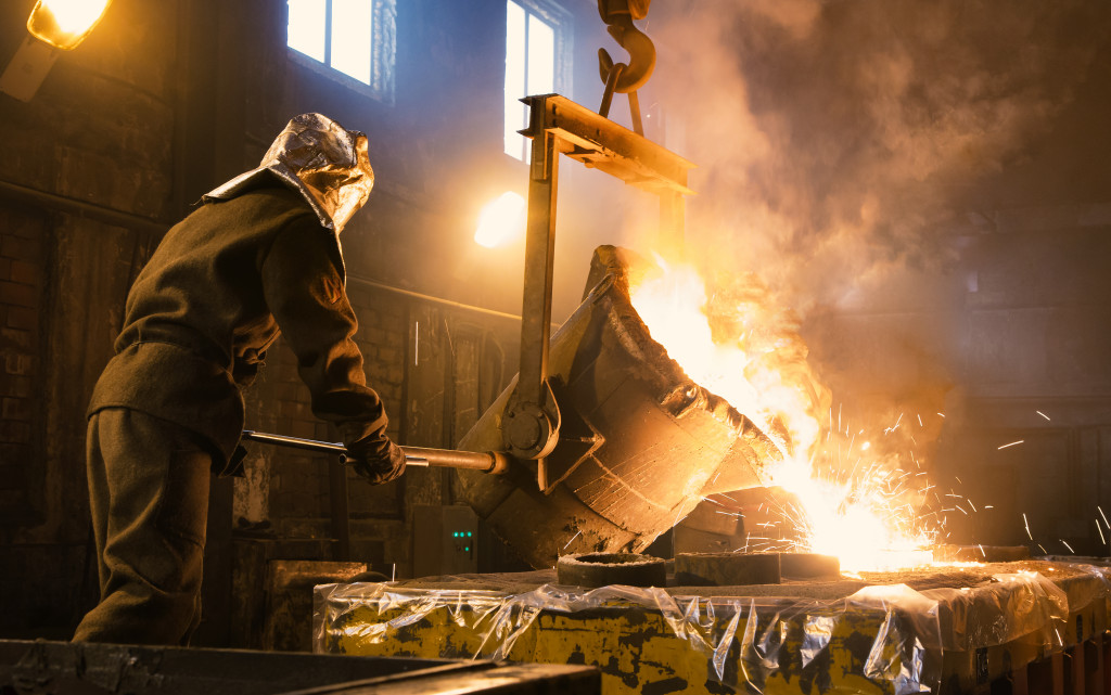 molten metal being poured into a cast