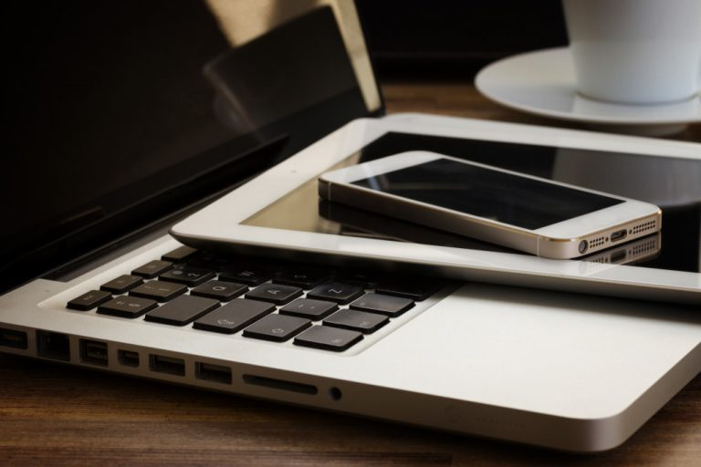 laptop, tablet, and phone